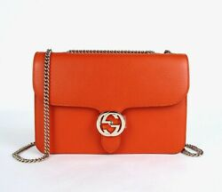 Gucci Sun Orange Leather Interlocking G Large Crossbody Chain Bag 510303 7527 $979.99
