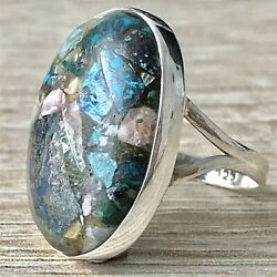 LARGE Solid Sterling Silver & Azurite Ring UK Size R US 8 12 Jewellery - 2963