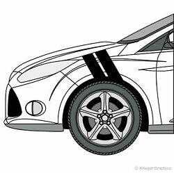 Hash Mark Stripes 3M Grand Sport Fender Bar Decals for Ford Focus $19.95