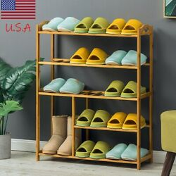 Home Free Entryway Organizer Standing Bamboo Shoe Rack 5 Tiers Wooden Big Store