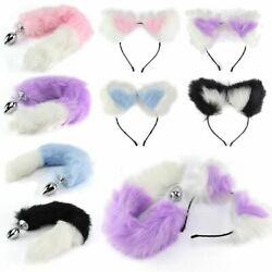 Fox Tail and Ears Anal-Butt Plug Romance Game Funny Toy Cat Adult Couple Cosplay $7.79