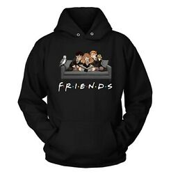 Friends Harry Potter Hermione Harry Ron Happy Halloween Black Hoodie