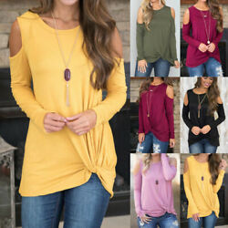 Autumn Women's Loose Long Sleeve Cotton Casual Blouse Shirt Tunic Tops US STOCK