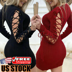 Women Sexy Bandage Bodycon Mini Dress Long Sleeve Knitted Club Party Short Dress
