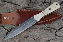 HAND FORGED DAMASCUS STEEL KNIFE W BONE HANDLE Q-857 $24.95