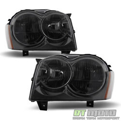 Smoked 2005 2006 2007 Jeep Grand Cherokee Headlights Headlamps Pair Left+Right $98.99