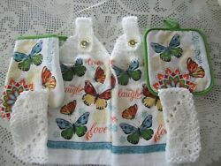 6 PC. HANGING KITCHEN TOWELS *BUTTERFLIES *GREAT GIFT*CROCHETED WHITE TOPS * $16.49