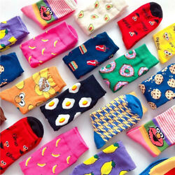 Women Socks Funny Cute Cartoon Fruits Cookie Donuts Food Skateboard Socks $2.99