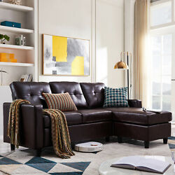 Faux Leather Sectional Sofa L-Shaped Couch WReversible Chaise for Small Space