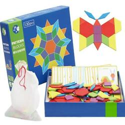 Children Tangrams Toy Colorful Wooden Geometric Shape Blocks Boards Y