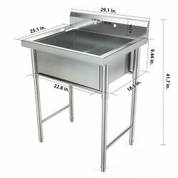 30quot; Stainless Steel Utility Commercial Square Kitchen Sink for Restaurant Home $239.95