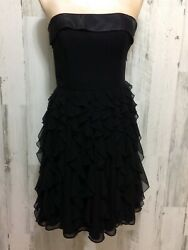 White house black market dress XS Little Black cocktail party ruffled strapless