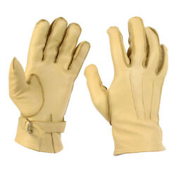 WW2 US Paratrooper Gloves Leather Cowhide American Airborne Yellow Rigger New $30.95