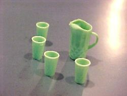 Dollhouse Miniature Green Water Pitcher & Glasses 1:12 MIniatures for Doll House