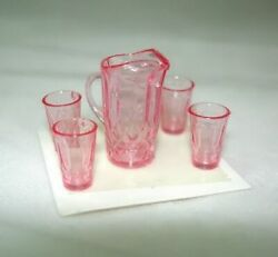 Dollhouse Miniature Pink Water Pitcher & Glasses  1:12 MIniatures for Doll House