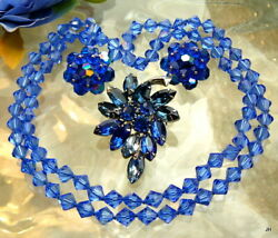 GORGEOUS VTG ROYAL BLUE AB CRYSTAL NECKLACE CLIP EARRINGS RHINESTONE BROOCH LOT