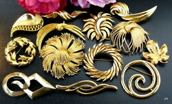 GORGEOUS QUALITY VINTAGE GOLDTONE PIN BROOCH LOT SIGNED CROWN TRIFARI MONET++NR!