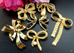 GORGEOUS QUALITY VINTAGE GOLDTONE BOW PIN BROOCH LOT SIGNED KJL 4 AVON AAI+NICE!
