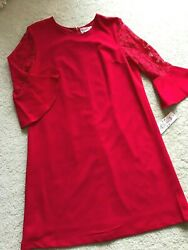 NWT NEW NANETTE Lepore red cocktail dress lacy sleeves 14 L LARGE washable lined $32.99