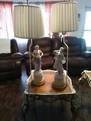 Matching antique lamps. Boy and girl. $200.00