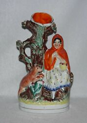 Antique Staffordshire Red Riding Hood & Wolf 9 12