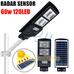 60W 30000LM Solar LED Street Light Commercial Outdoor Area Security Road Lamp US