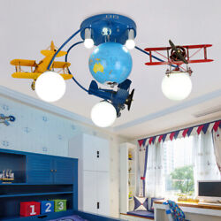 LED Child Room Chandelier Bedroom Cartoon Airplane Ceiling Lamp Remote Light $275.08