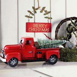 Vintage Metal Classic Rustic Pickup Truck wChristmas Tree Home Office Decor Red $13.99