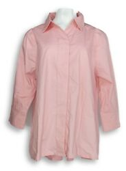 Martha Stewart Women's Top Sz L Stretch Poplin Button Front Pink A355010