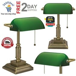Vintage Bankers Lamp Green Shade Desk Antiques Glass Table Light Home Lampshades $51.99