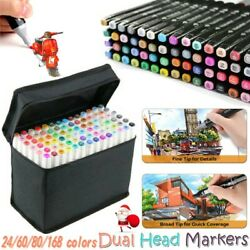 24-168 Colors Dual Tips Sketch Marker Art Drawing Mark Pen Christmas Kids Gift