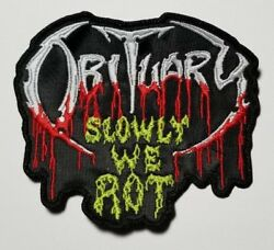 OBITUARY SLOWLY WE ROT SHAPED EMBROIDERED PATCH
