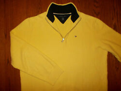TOMMY HILFIGER 14 ZIP YELLOW SWEATER MENS XL EXCELLENT CONDITION