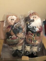 Mr amp; Mrs Claus Plush Standing Doll Christmas Decor $45.99
