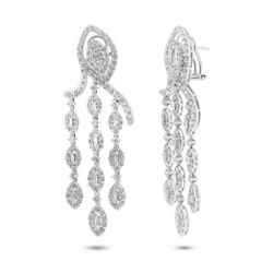 18K White Gold Diamond Chandelier Earrings Marquise Baguette 6.36 TCW Natural