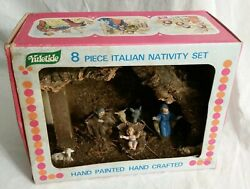 VINTAGE YULETIDE NATIVITY SET FROM ITALY WOODEN MANGER CRECHE PLASTIC ITALY BOX!