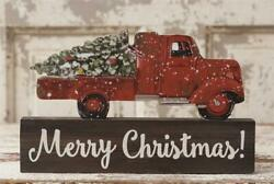 New Primitive Rustic Country VINTAGE RED TRUCK MERRY CHRISTMAS Wood Block Sign $19.99