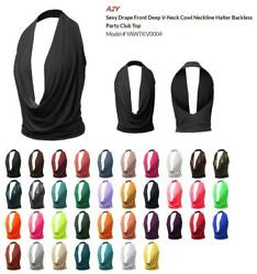 Sexy Drape Front Deep V-Neck Cowl Neckline Halter Backless Party Club Top $14.99