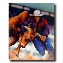 Cowboy Western Rodeo Bull Dog Wall Picture Art Print $11.97