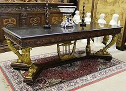 Antique Gold Neoclassical French Table or Desk C 1890 1 1 4quot; Thick Granite Top $7950.00