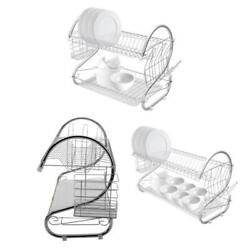 Durable Stainless 2 Tier Dish Drainer Drying Rack Kitchen Storage Steel Rack NEW $19.99