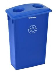 Alpine Industries 23 Gal Blue Commercial Recycling Bin with Can and Bottle Lid