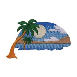 Tropical Sunset Patch Sun Beach Scene Paradise Embroidered Iron On Applique $5.99