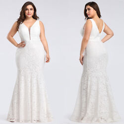 US Ever-Pretty Plus Size Lace Formal Long Bridesmaid Gowns Mermaid Wedding Dress $49.99