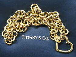 Tiffany & Co 18Kt Yellow Gold Heart Link Pendant Necklace 16.5