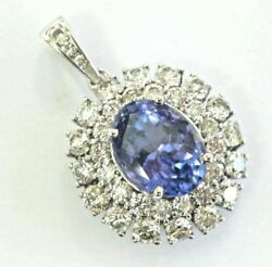 Natural Oval Tanzanite & Diamond Circular White Gold Pendant 7.86CT 14KT 1.25