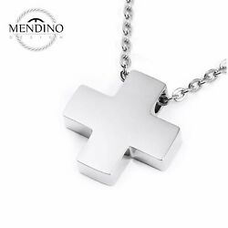 MENDINO Women's Stainless Steel Pendant Necklace Classic Cross Polished Silver