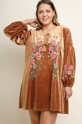 GIGIO by Umgee Plus Boho Embroidered Clay Velvet Dress Floral Print 1XL 1X $47.99