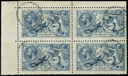 10- SG 413 'Pale-Blue' BLOCK OF FOUR VFU corner marginal light 'Guernsey.19