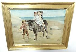 ANTIQUE PRIMITIVE PAINTING ON MILLBOARD SIGNED AND FRAMED CHILDREN ON DONKEY $149.99